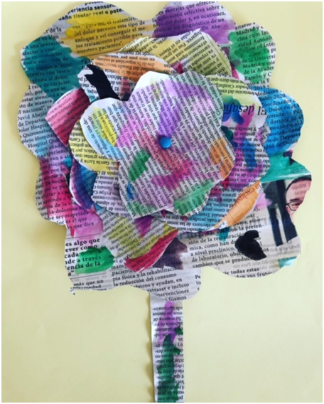 Upcycled newspaper flower