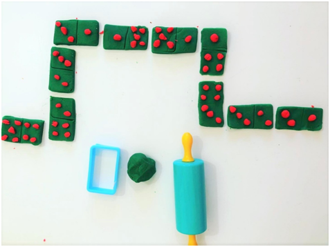 simple play with numbers, dominoes