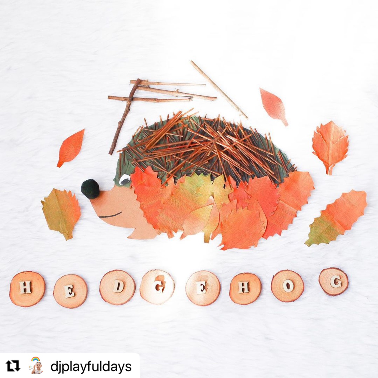 Hedgehog Autumn activity for toddlers